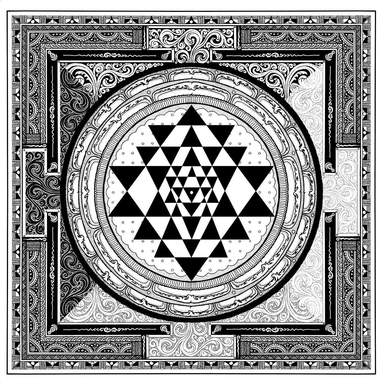 Sri Yantra Symbol Meditation Gray Free Image On Pixabay