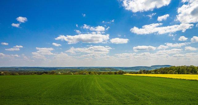 Landscape, Spring, Field, Sky, Clouds