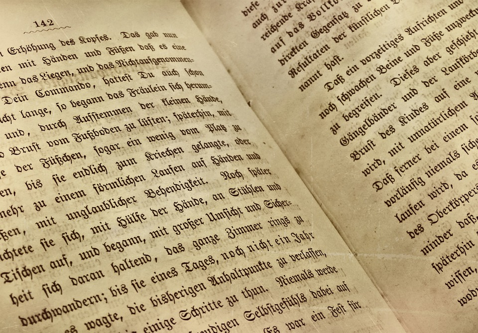 book book page old german font read old book text