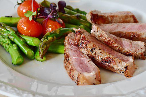 Asparagus, Steak, Veal Steak, Veal, Meat