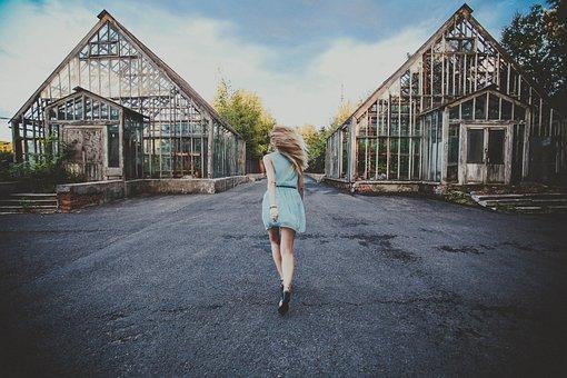 Msu, 女の子, 女性, ランニング, ラン, 走る, 青いドレス, ドレス