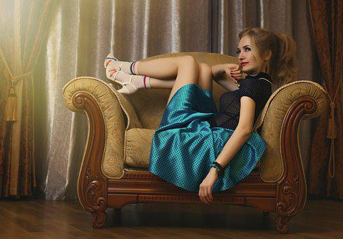 Pin-Up Girl Girl Beautiful Model Vintage A