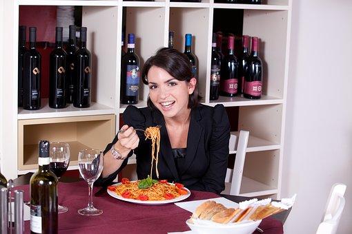 レストラン, パスタ, 食べる, 食品, グレービー ソース, キッチン