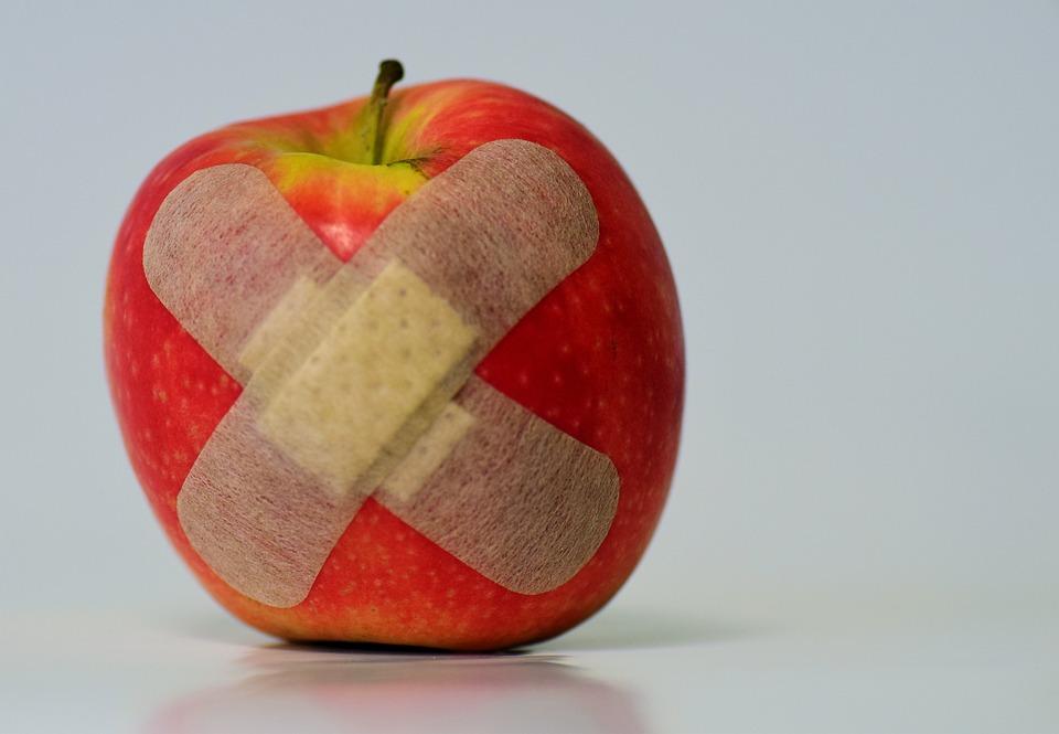Apple, Parche, Heridos, Asociación, Frutas, Alimentos