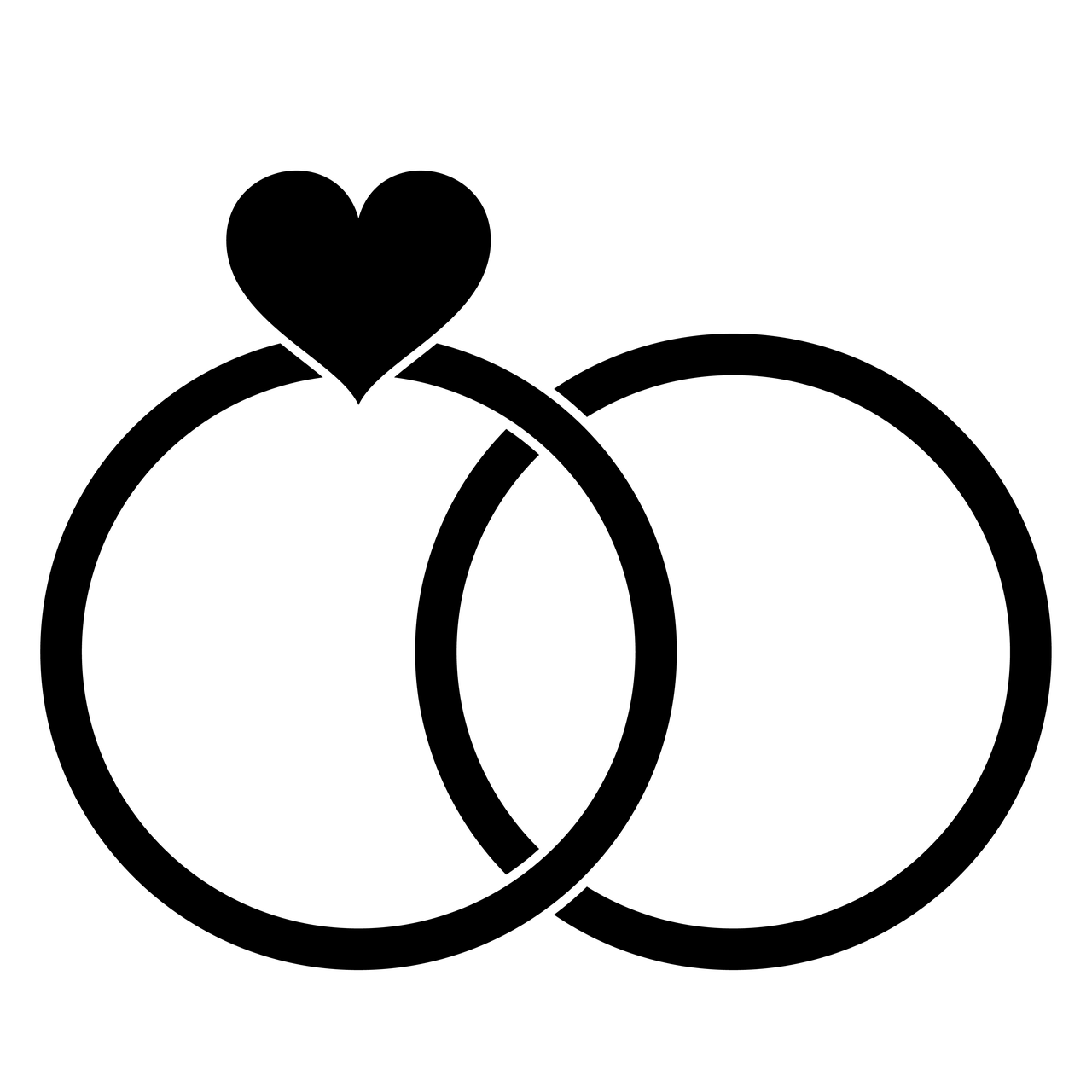 Свадебная картинка с кольцами черно белая
