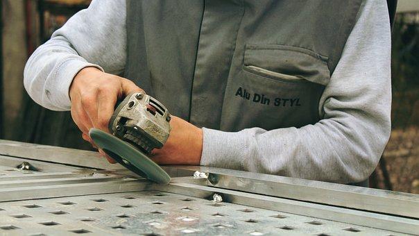 Moedor, ferramentas, trabalhador, máquina