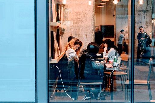 大人, 市, 従業員, 家具, ガラス, グループ, 屋内で, 人, レストラン