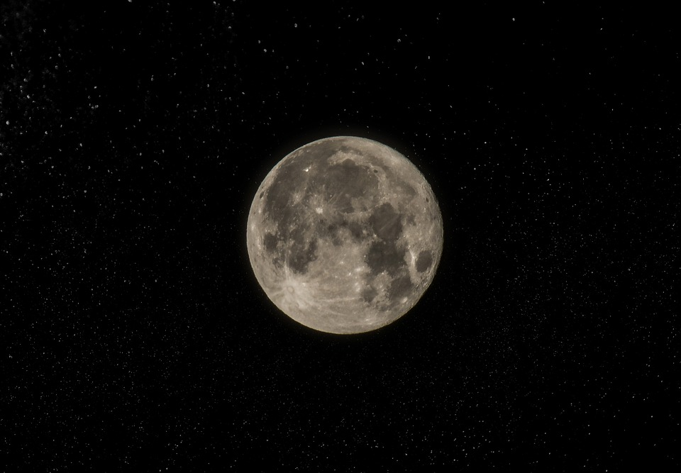 Black, Full Moon, Midnight, Moon, Moon Surface, Stars