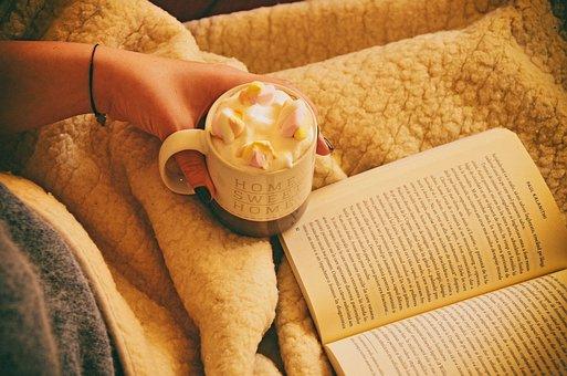 书, 早餐, 卡布奇诺, 巧克力, 奶油, 杯, 美味, 喝, 食品, 自制