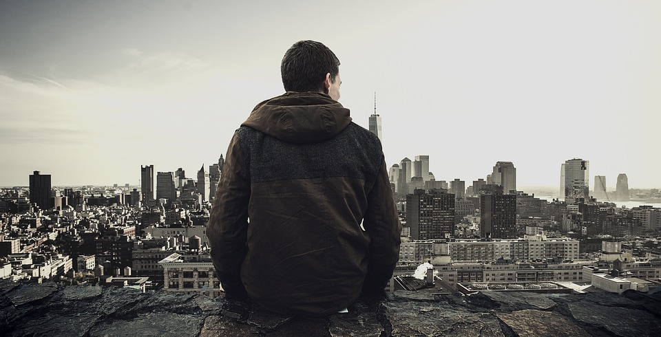 Man, Sitting, City View, Skyline, Cityscape