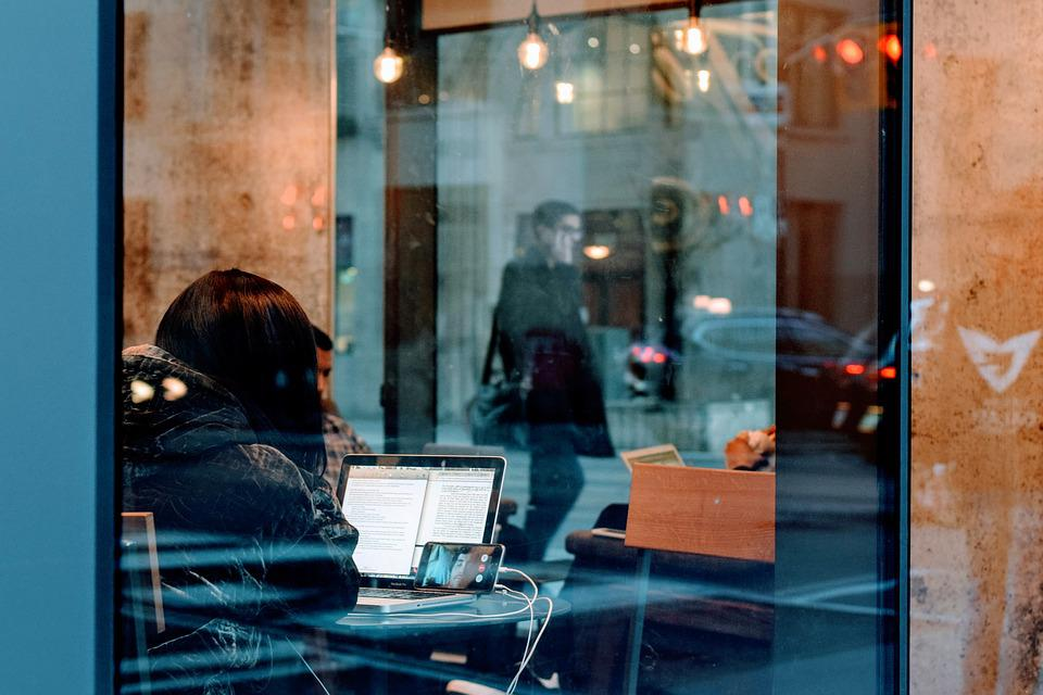 Adult, City, Girl, Indoors, Laptop, Light, Man, People
