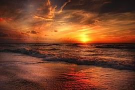 Beach, North Sea, Sea, Sunset