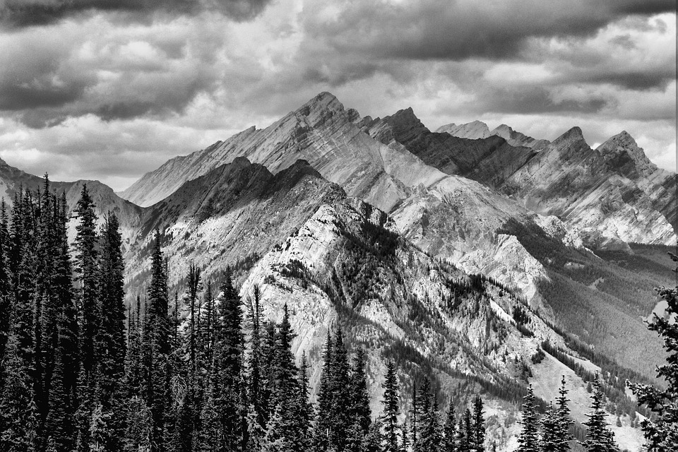 Mountains black and white outdoors landscape sky