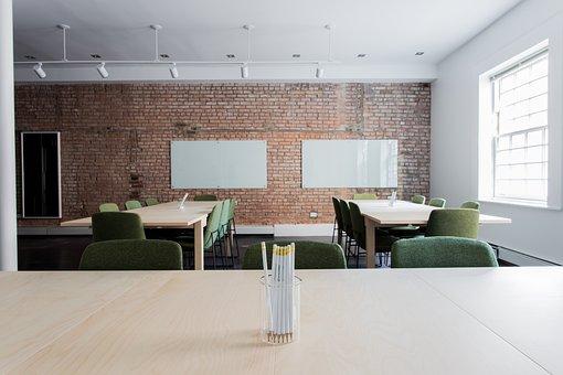 レンガ, 椅子, 教室, 空, オフィス, ルーム, テーブル, 壁