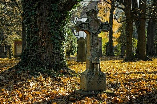 Herbst, Friedhof, Kreuz, Tod, Verfall