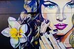 femme fatale, graffiti, wall