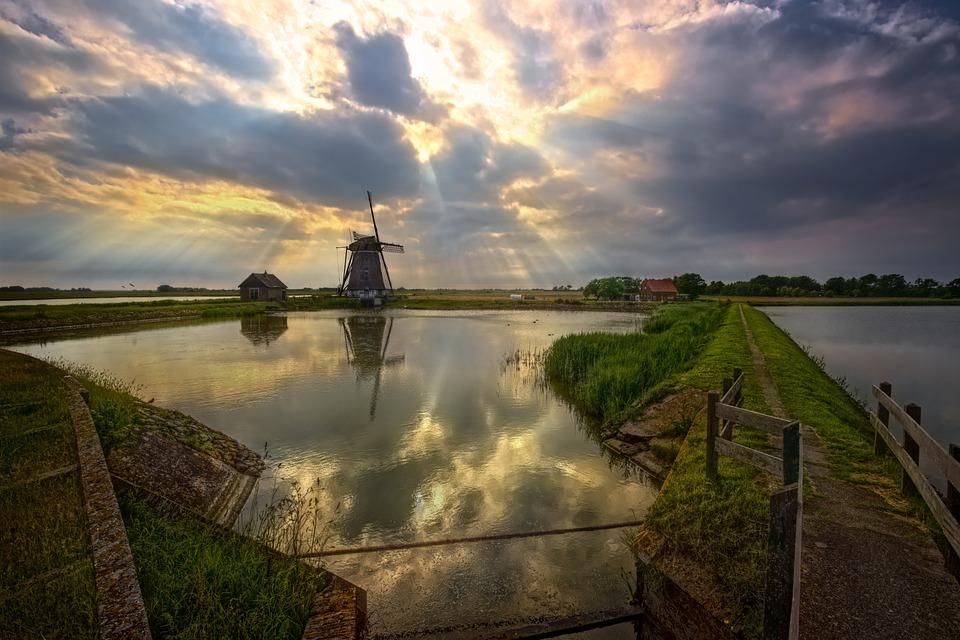 Moulin À Vent, Texel, Pays-Bas, Vacances, Étang, Digue