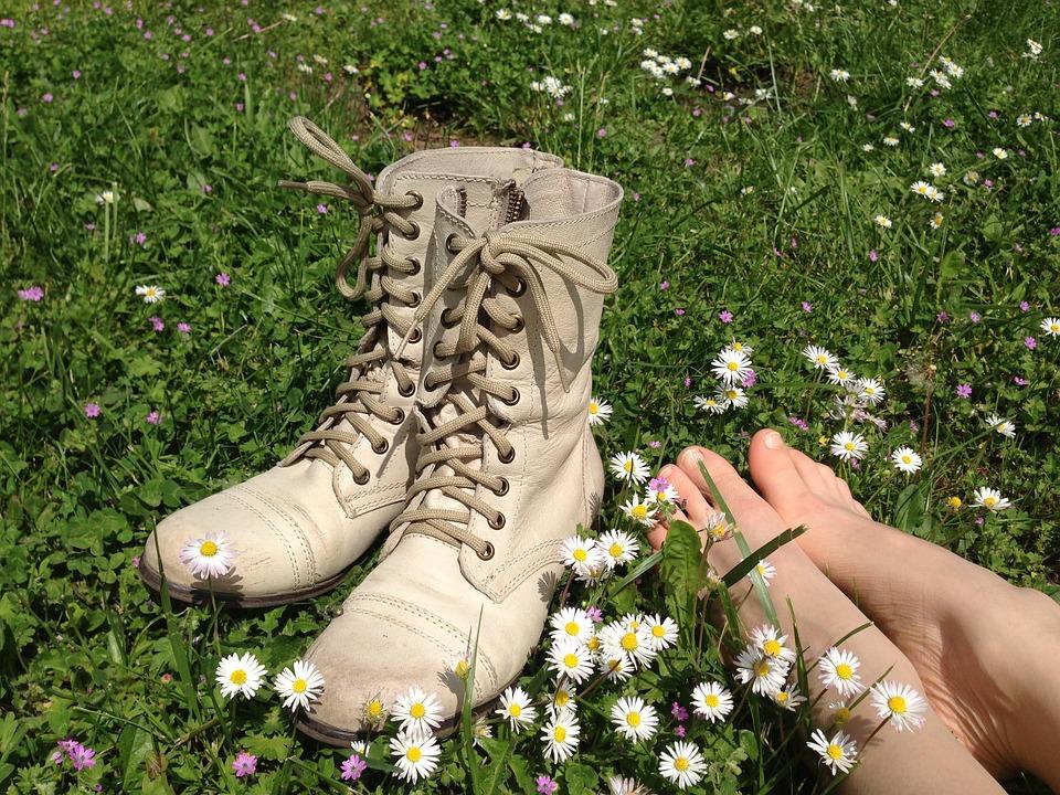 Chaussures, Pieds, Fleurs, Marguerite, Été, Printemps