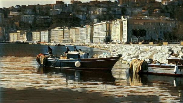 Naples, Boat, Painting, Naples, Naples