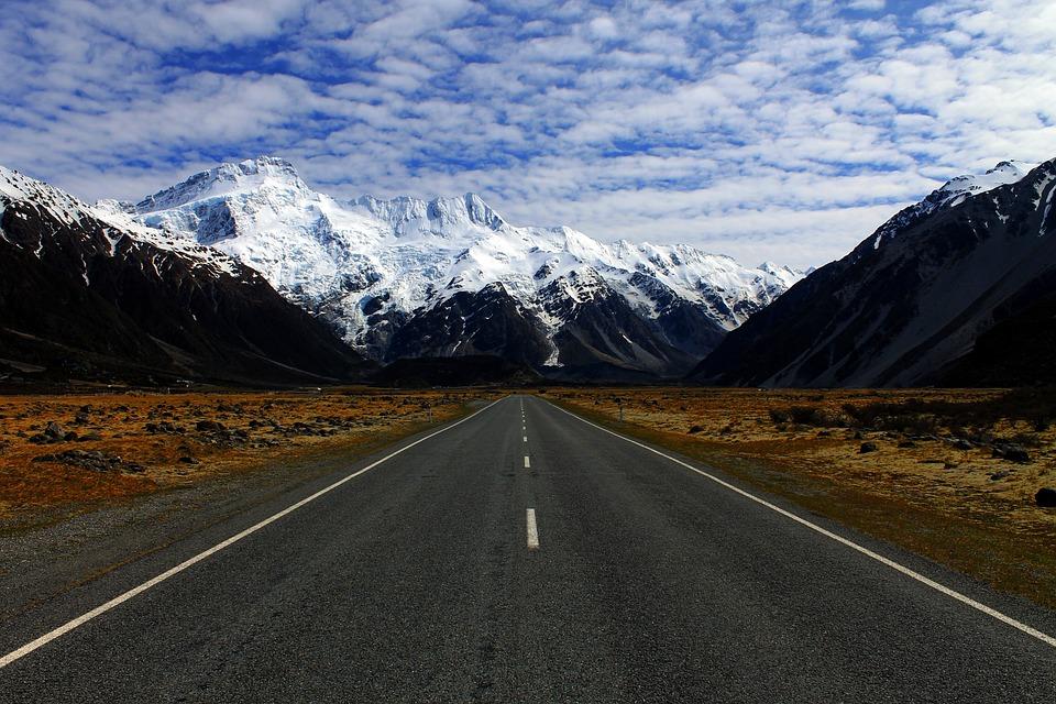 Montañas, Paisaje, Nieve, Nueva Zelanda, Invierno