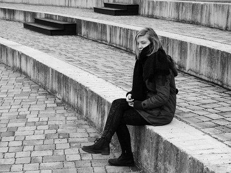 女性, 申し訳ありませんが, うつ病, 寂しい, されてしまった, 不幸