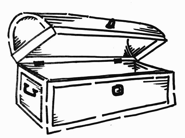 Free illustration treasure chest black and white free - Dessin de coffre de pirate ...