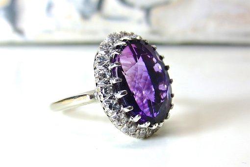 Amethyst, Jewelry, Diamond, Halo