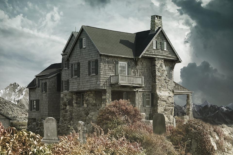 House, Cemetery, Haunted House, House Near The Cemetery