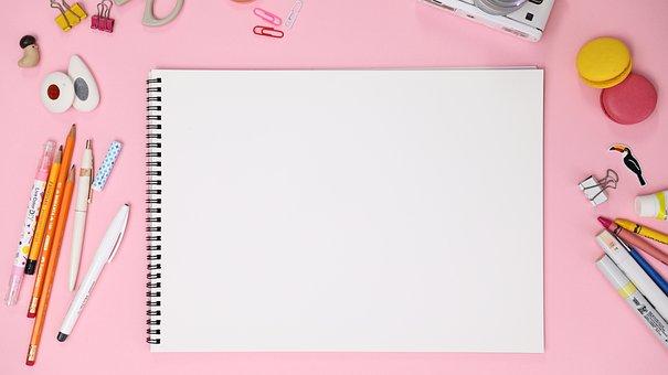 ピンク, マカロン, スケッチブック, 色鉛筆, ペン, 鉛筆, 図書
