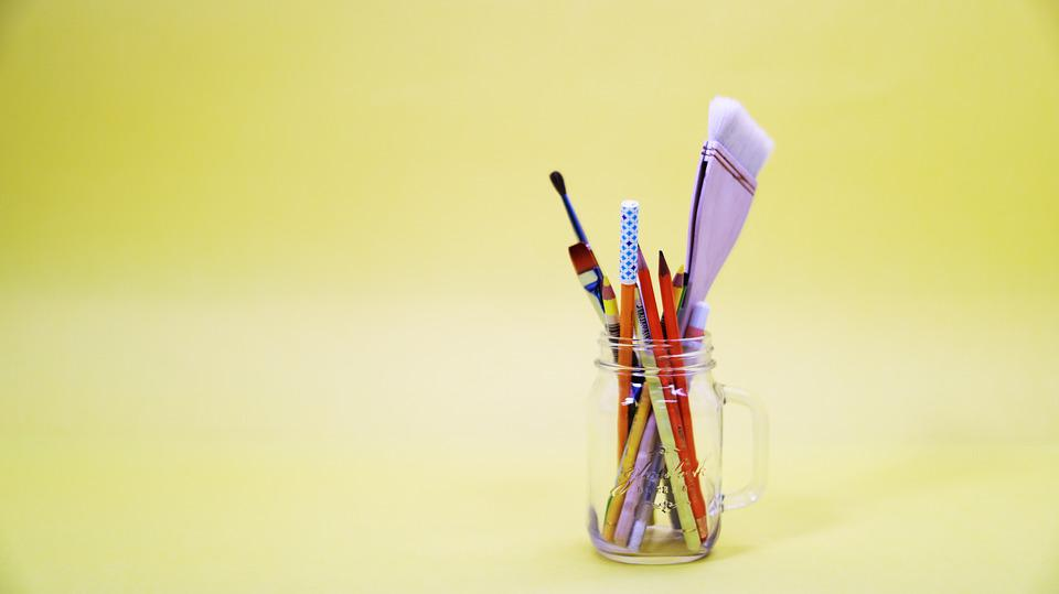 Yellow, Macaroon, ブラシ, 鉛筆, 色鉛筆