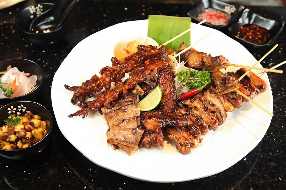 Il Cibo Di Strada Barbecue, Carne Di Maiale Intestino
