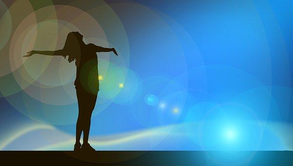 Woman, Silhouette, Lichtreflex, Joy