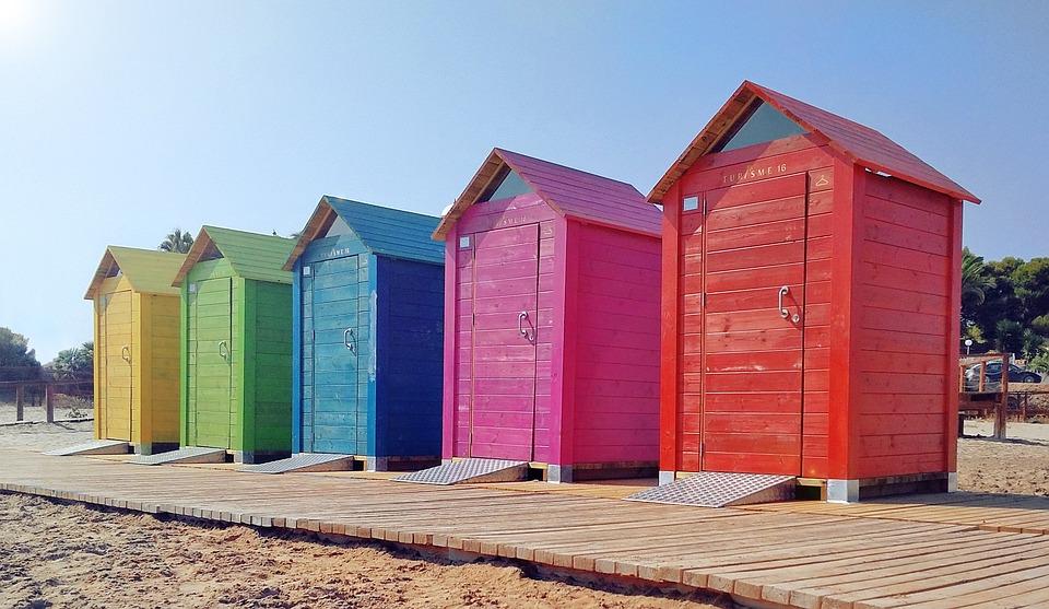 ビーチ, 海, コスタ, ブース, 太陽, ウォークインクローゼット, 地中海, スペイン海岸, スペイン