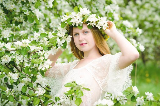 Spring, Girl, Flowers, Portrait, Mood