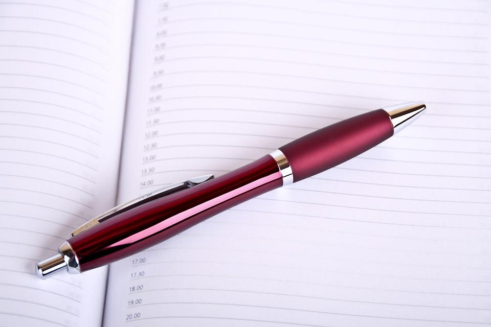 時間, 計画, オフィス, 注意, 予定, スケジュール, 書きます, カレンダー, ペン, 事務所