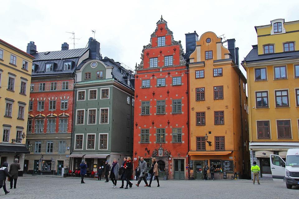 ガムラスタン, 旧市街, 市, 美しい, 本格的です, 伝統的な, ストックホルム, スウェーデン