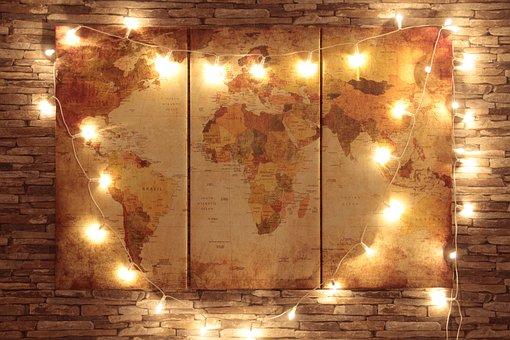 地球, 世界, 地図, 光, チェーン, Lichterkette, ヨーロッパ