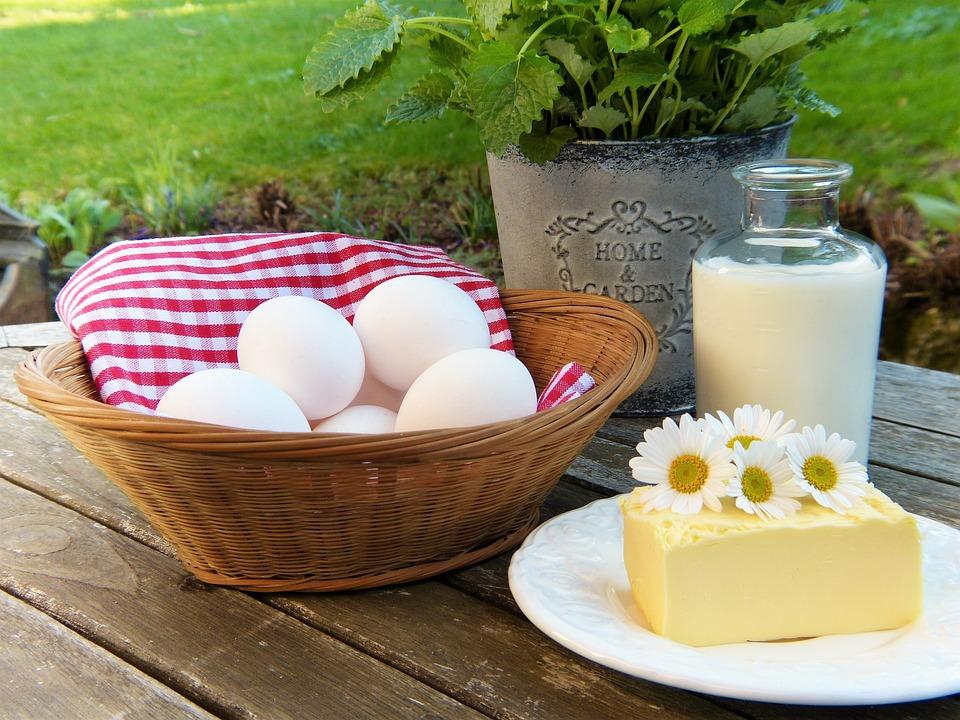 Uovo, Latte, Burro, Fuori, Giardino, Le Erbe, Fresco