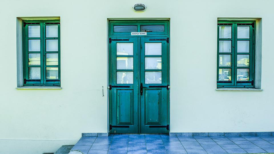 School, Old, Exterior, Architecture, Door, Windows