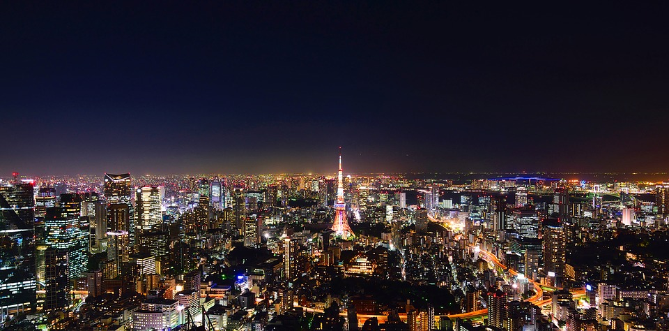 Tokyo, Japan, City, Urban, Panorama, Night, Evening