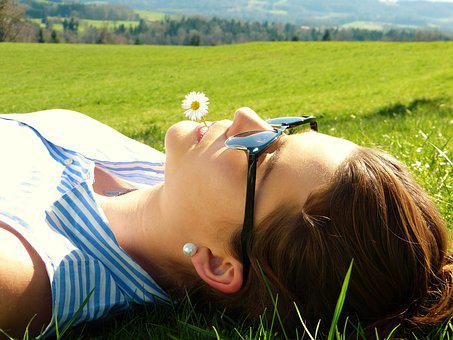 Young Woman Meadow Concerns Rest Relax Gir