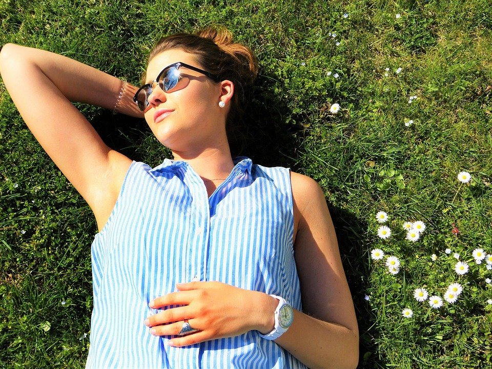 Young Woman, Meadow, Concerns, Relax, Rest, Sun, Sunny