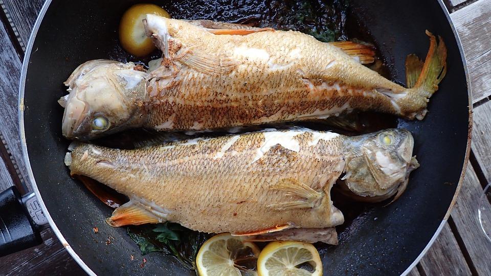 Fish frying at the frying pan