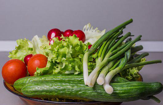 Vegetables, Cucumber, Onion, Salad, Food