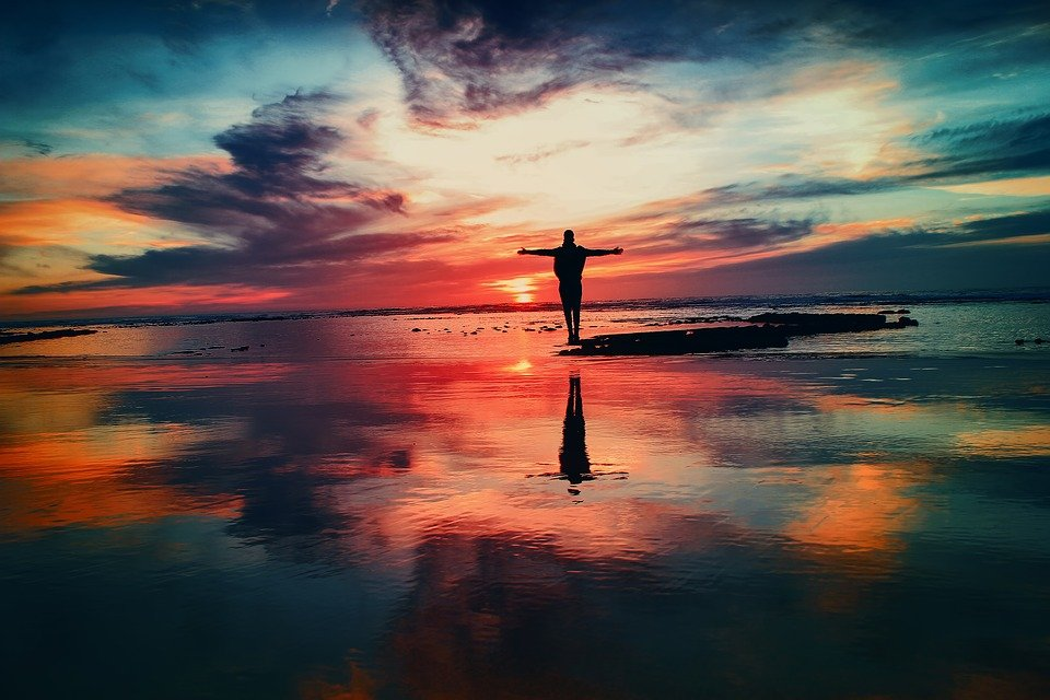 Ozean, Sonnenuntergang, Person, Silhouette, Freiheit