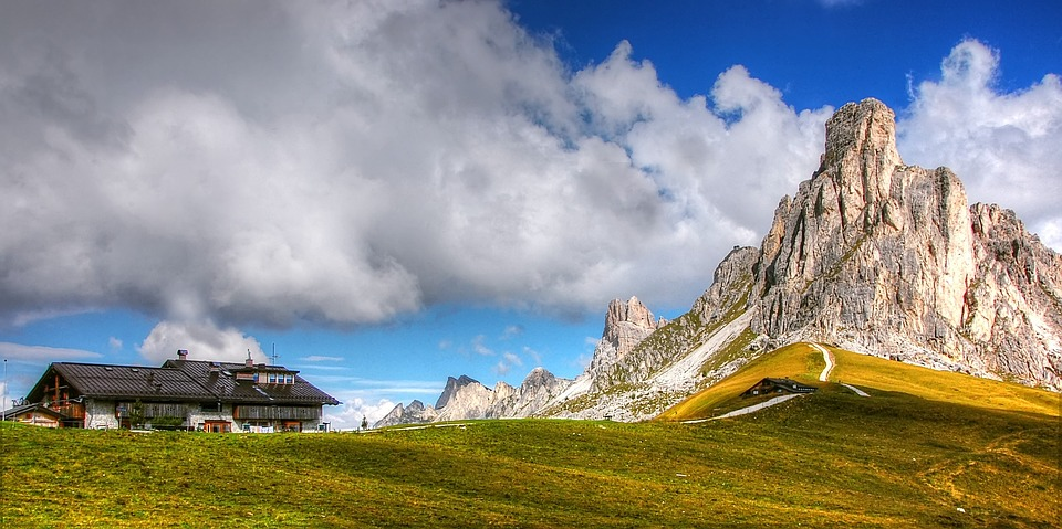 Passo Giau, Dolomites, Summer, Rock, Sky