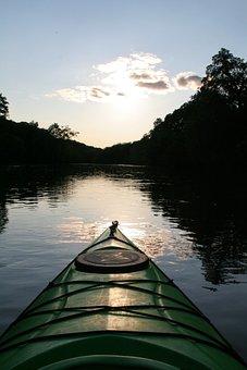 River Kayak Kayaking Paddling Summer Sunse