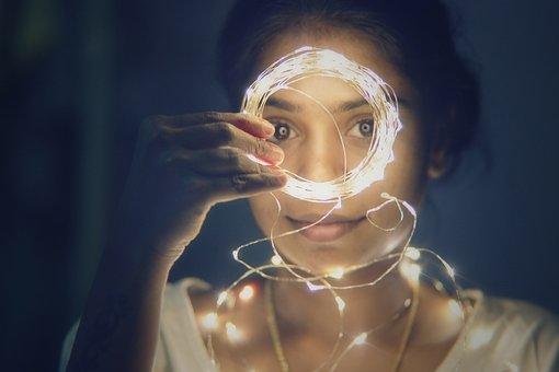 Lights Girl Portrait Bokeh Natural Female