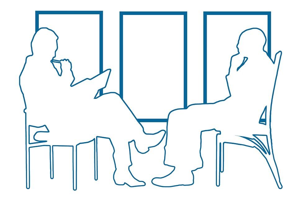 インタビュー, 優れました, スタッフ, 人事マネージャー, 態度, 会話, 座る, 就職面接, 募集