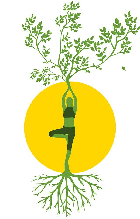 Kontur, Frauen, Baum, Yoga, Meditation, Harmonie